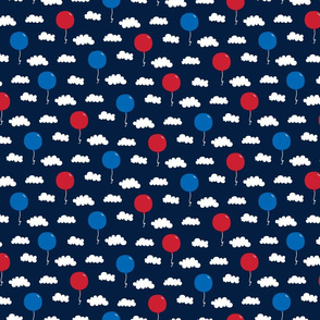 balloons sm red white and royal on navy blue || independence day USA american fourth of july 4th