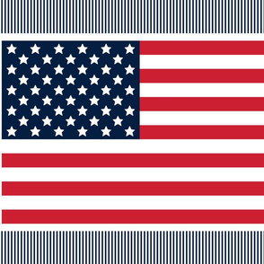 flag fat quarter 21x18 red white and navy blue || independence day USA american fourth of july 4th