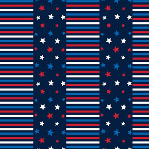 stars and stripes med red white and royal on navy blue || independence day USA american fourth of july 4th