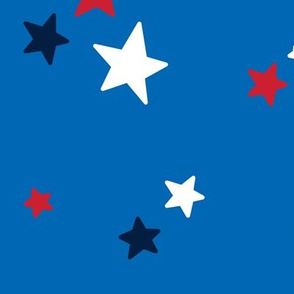 stars lg red white navy on royal blue || independence day USA american fourth of july 4th