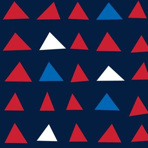 triangles red white and royal on navy blue || independence day USA american fourth of july 4th