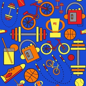 Blue  Fitness and Sports, Blue, Orange, Red, Yellow,  and Retro Vintage Style Music Icons