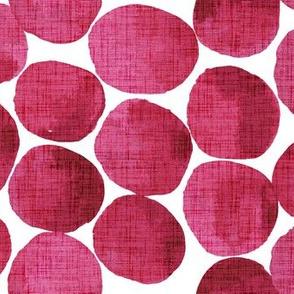 Watercolor Dots Linen Texture - red