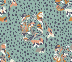 africa africa - leopard head and spots - aqua blue