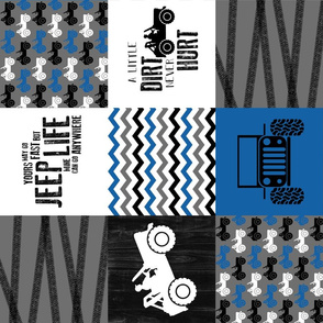 Jeep//A little Dirt Never Hurt//Blue - Wholecloth Cheater Quilt - Rotated