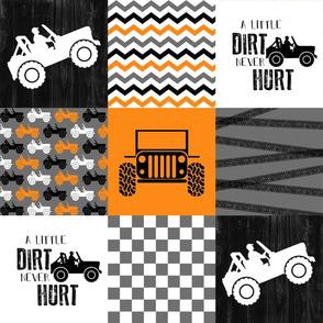 Jeep//A little Dirt Never Hurt//Orange - Wholecloth Cheater Quilt