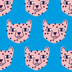 Cheetah Pink on Blue