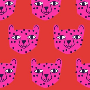 Cheetah Bright Pink on Red