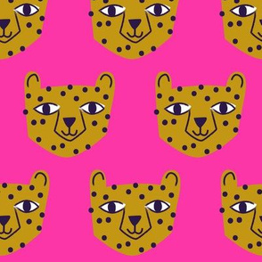 Cheetah Mustard on Bright Pink
