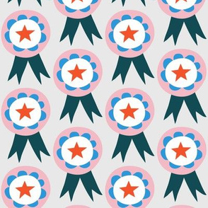 Large - Rosettes Pink and Blue