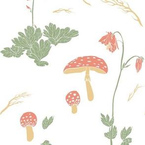 Mushrooms and flowers - white