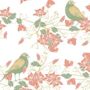 Birds in the bush - rose