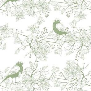 Birds in the bush - white