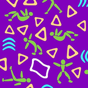 Tiny Green People Fitness on Purple