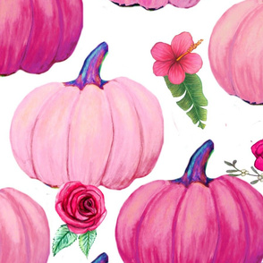 Pink Pumpkins with flowers