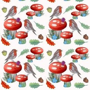watercolor robins and fall mushrooms