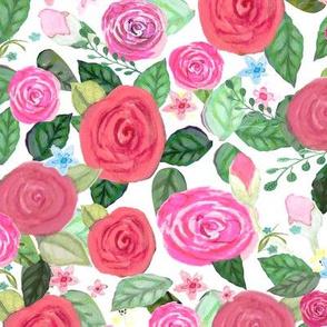 Rose rabbit, Cute bunnies nursery wallpaper & fabric Watercolor painted painted floral large