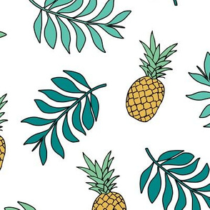 Pineapple paradise island vibes fruit and botanical leaves summer surf green yellow LARGE