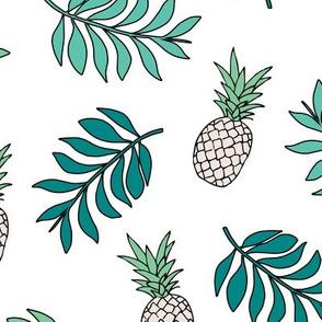 Pineapple paradise island vibes fruit and botanical leaves summer surf green blue JUMBO