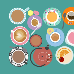 Cups on Teal Tea Towel