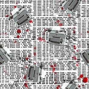 typewriter and blood spatter