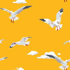 Seagull Clouds SunYellow
