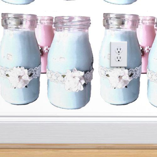 Retro Blue Milk Bottles Spoonflower