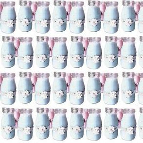 Retro  Blue Milk Bottles