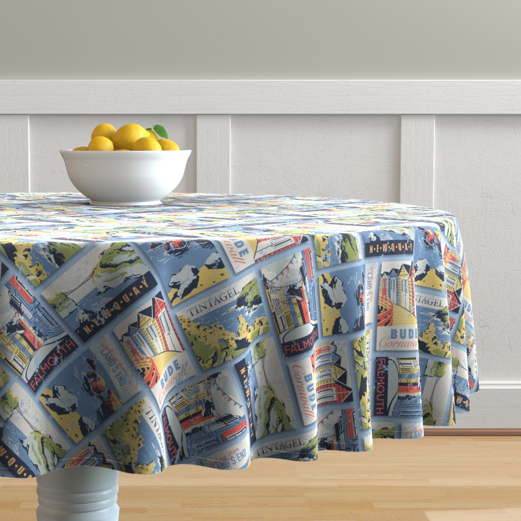 Malay Round Tablecloth featuring Retro Cornwall Postcards by abbilaura