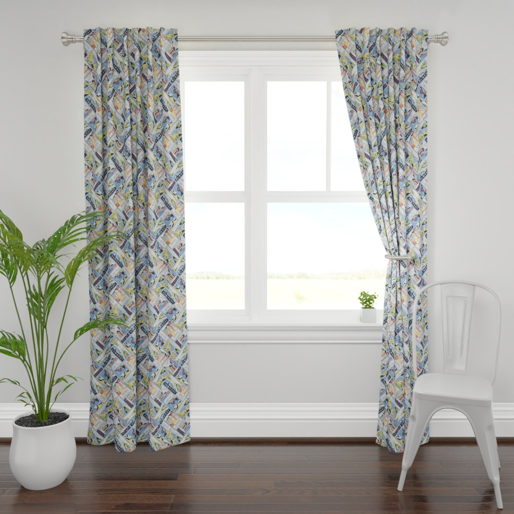 Plymouth Curtain Panel featuring Retro Cornwall Postcards by abbilaura