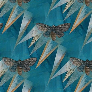 Moth Stories Teal Blue Collage
