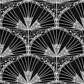 Black & White Trumpet Flower Scallop Art Deco