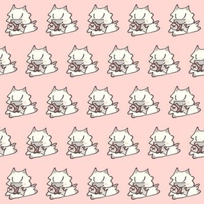 Kitten and Fish  Pale Pink
