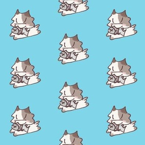 Kitten and Fish  Sky Blue
