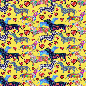 dachshunds and hearts