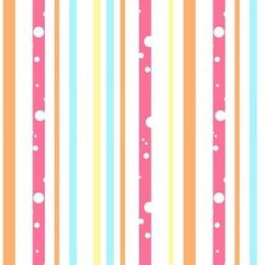Stripes in Pink, Orange, Aqua Dotted