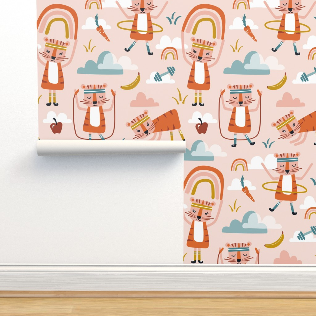 Isobar Durable Wallpaper featuring Wild Workout - Blush Large Scale by heatherdutton