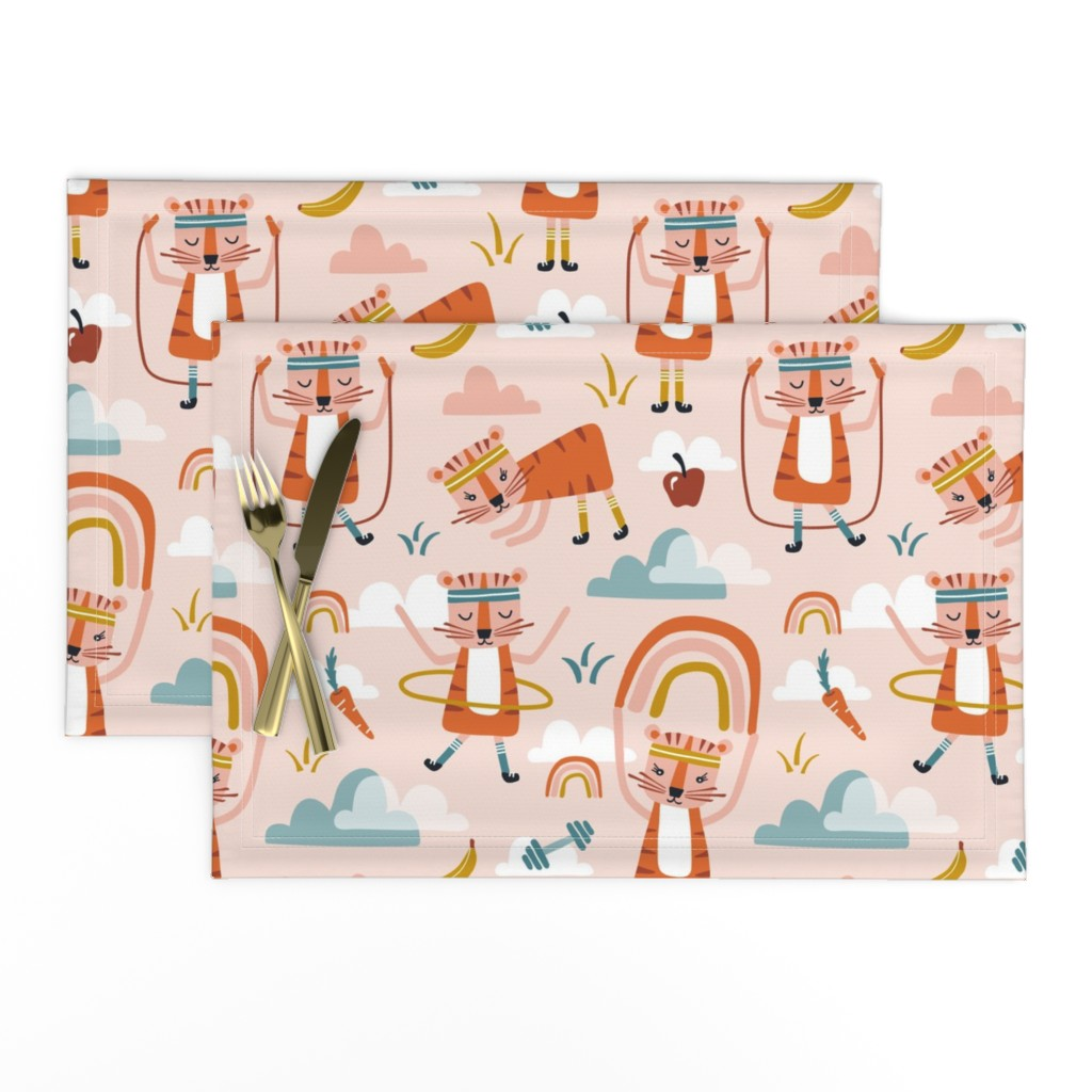 Lamona Cloth Placemats featuring Wild Workout - Blush Large Scale by heatherdutton