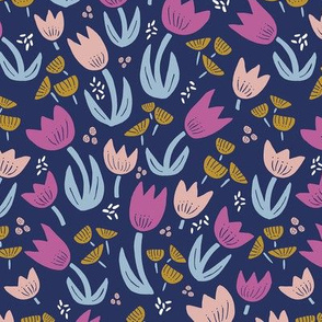 Tulips Scandi Navy and Pink