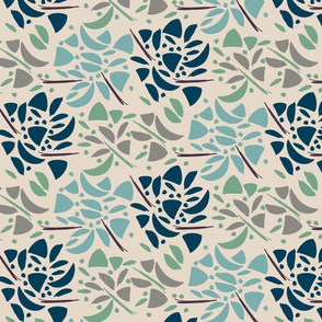 Art Deco Inlay Floral Khaki, Blue, Green