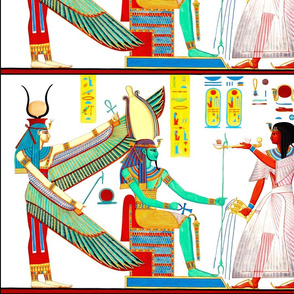 ancient egypt egyptian pharaoh Ramses gods goddesses kings hieroglyphics Osiris Isis wings falcons Shen Ring Throne  Ankh Cobras snakes colorful yellow red green crowns sun  offerings royalty tribal