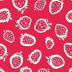 white strawberries on red by rysunki_malunki