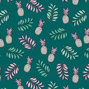 Pineapple paradise island vibes fruit and botanical leaves summer surf teal ocean green pink girls