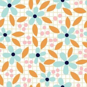 Pastel flowers on grid background.