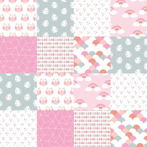 Cute owls and rainbows summer botanical leaves baby blanket pink peach gray girls