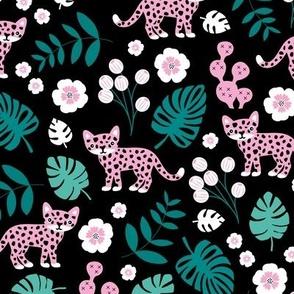 Sweet little wild cat tiger jungle botanical monstera palm leaves and flowers summer black green pink girls