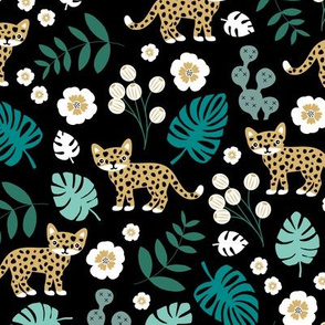 Sweet little wild cat tiger jungle botanical monstera palm leaves and flowers summer yellow green black boys