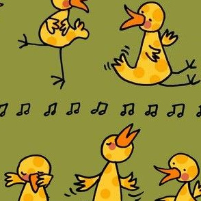 Birds learning to dance -green