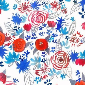 Patriotic Red, White,  Blue Watercolor Floral