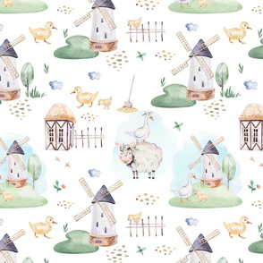 Watercolor farm animals fabric - nursery baby fabric, baby fabric, watercolor animals white fabric. Scandinavian design